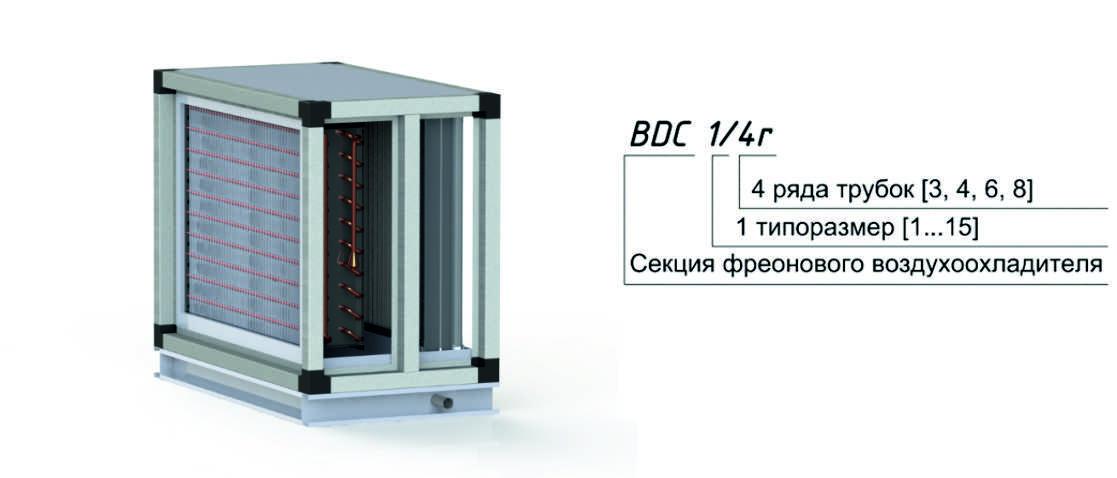 Секция фреонового воздухоохладителя для центрального кондиционера